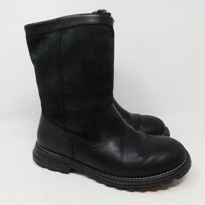 UGG Black Suede Leather Mid Calf Winter Boots 6